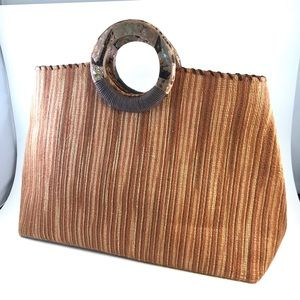 Vintage Carpet Style Striped Bag Round Handles